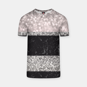 Thumbnail image of Gray Black Marble Glitter Stripes Glam #1 #shiny #decor #art T-Shirt, Live Heroes