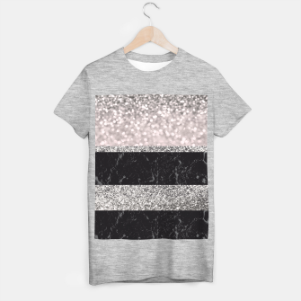 Thumbnail image of Gray Black Marble Glitter Stripes Glam #1 #shiny #decor #art T-Shirt regulär, Live Heroes