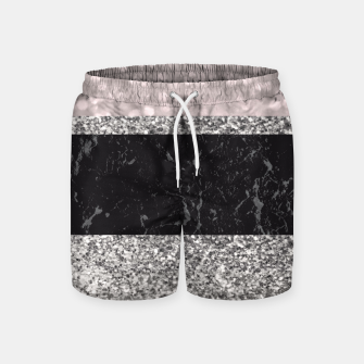 Thumbnail image of Gray Black Marble Glitter Stripes Glam #1 #shiny #decor #art Badeshorts, Live Heroes