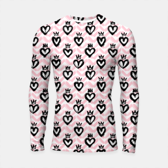 Thumbnail image of Hearts in crowns pattern / Pink Longsleeve rashguard , Live Heroes