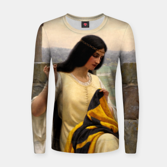 Thumbnail image of Stitching the Standard by Edmund Leighton Women sweater, Live Heroes