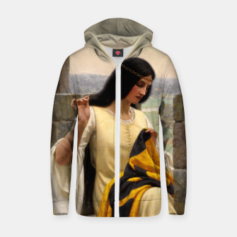 Thumbnail image of Stitching the Standard by Edmund Leighton Zip up hoodie, Live Heroes