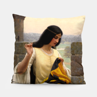 Thumbnail image of Stitching the Standard by Edmund Leighton Pillow, Live Heroes
