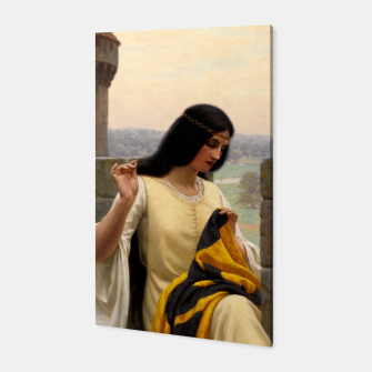 Thumbnail image of Stitching the Standard by Edmund Leighton Canvas, Live Heroes