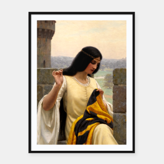 Thumbnail image of Stitching the Standard by Edmund Leighton Framed poster, Live Heroes