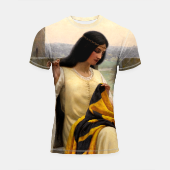Thumbnail image of Stitching the Standard by Edmund Leighton Shortsleeve rashguard, Live Heroes