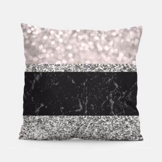 Thumbnail image of Gray Black Marble Glitter Stripes Glam #1 #shiny #decor #art Kissen, Live Heroes