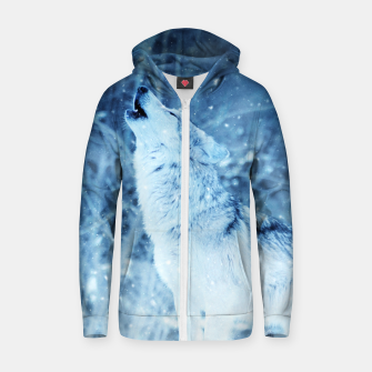 Thumbnail image of Winter Is Here - Wolf In Ice Cold Colors Zip up hoodie, Live Heroes