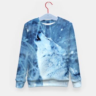 Thumbnail image of Winter Is Here - Wolf In Ice Cold Colors Kid's sweater, Live Heroes