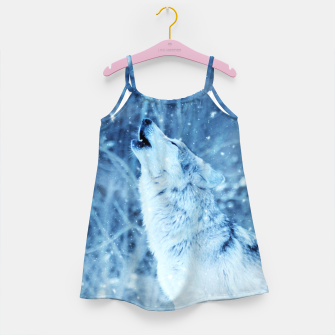 Thumbnail image of Winter Is Here - Wolf In Ice Cold Colors Girl's dress, Live Heroes