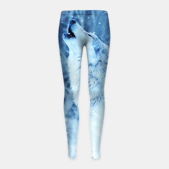 Thumbnail image of Winter Is Here - Wolf In Ice Cold Colors Girl's leggings, Live Heroes