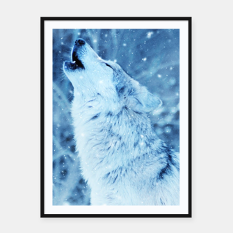 Thumbnail image of Winter Is Here - Wolf In Ice Cold Colors Framed poster, Live Heroes