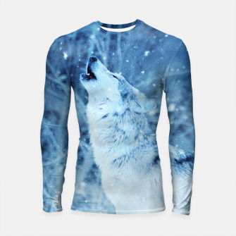 Thumbnail image of Winter Is Here - Wolf In Ice Cold Colors Longsleeve rashguard , Live Heroes