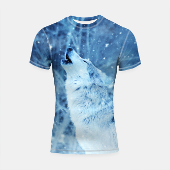 Thumbnail image of Winter Is Here - Wolf In Ice Cold Colors Shortsleeve rashguard, Live Heroes