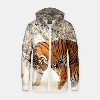 Thumbnail image of Animals Big Cats - Tiger In The Snow  Zip up hoodie, Live Heroes