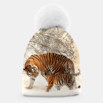 Thumbnail image of Animals Big Cats - Tiger In The Snow  Beanie, Live Heroes