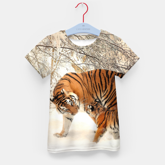 Thumbnail image of Animals Big Cats - Tiger In The Snow  Kid's t-shirt, Live Heroes