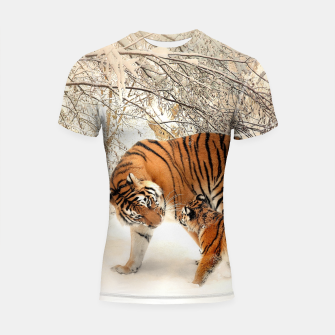 Thumbnail image of Animals Big Cats - Tiger In The Snow  Shortsleeve rashguard, Live Heroes
