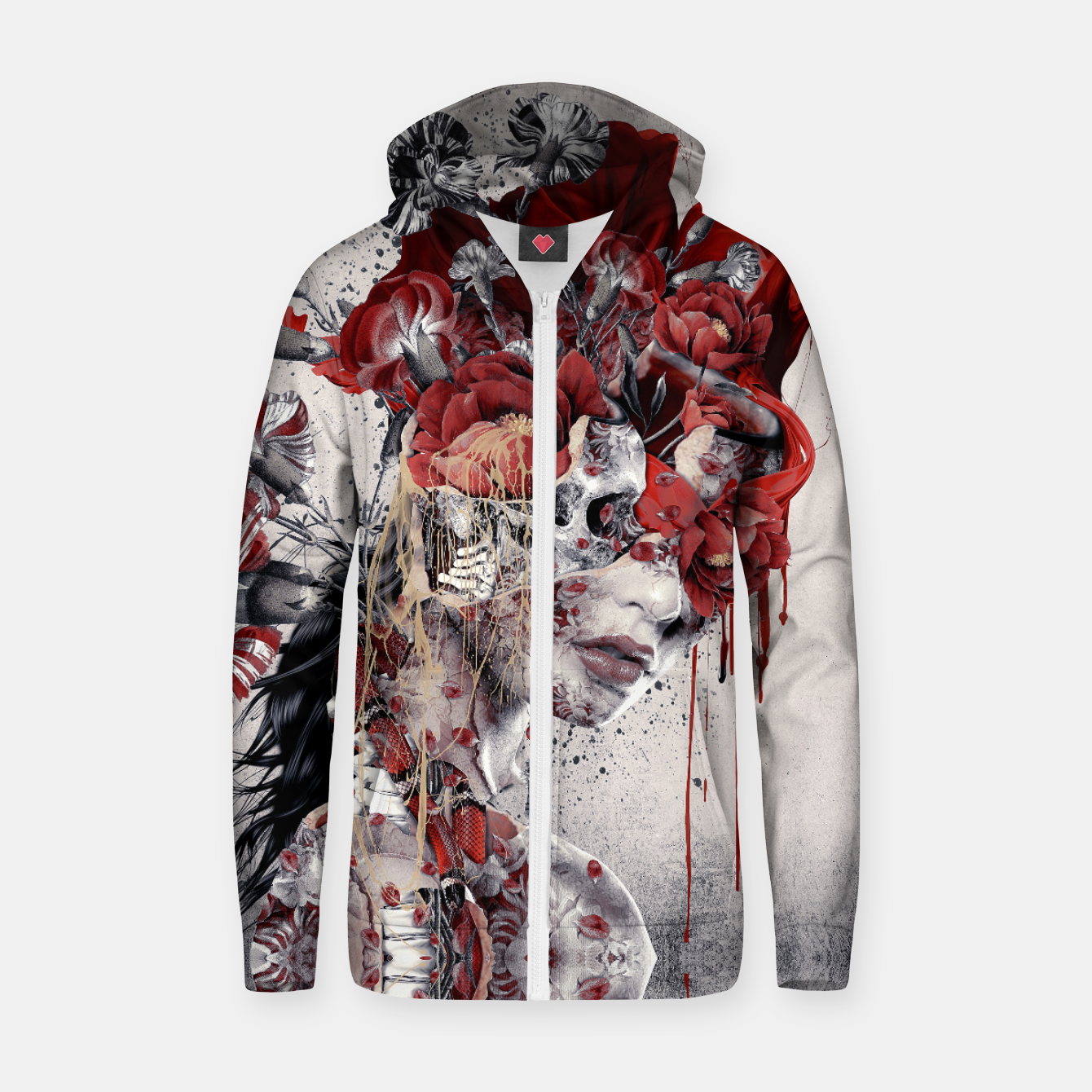Image of Queen Of Skull II Zip up hoodie - Live Heroes