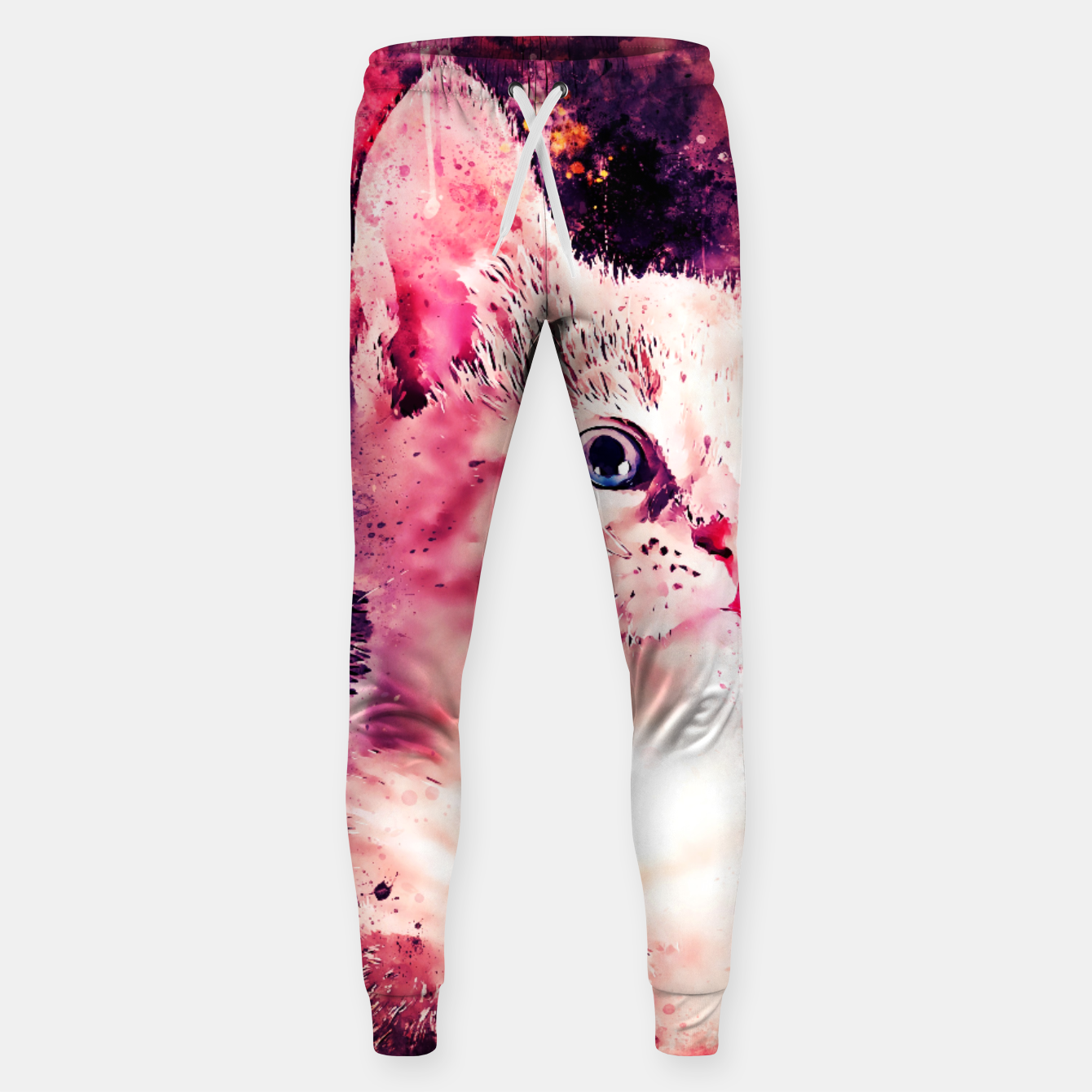 Image of gxp cute white stare gaze kitty splatter watercolor Sweatpants - Live Heroes