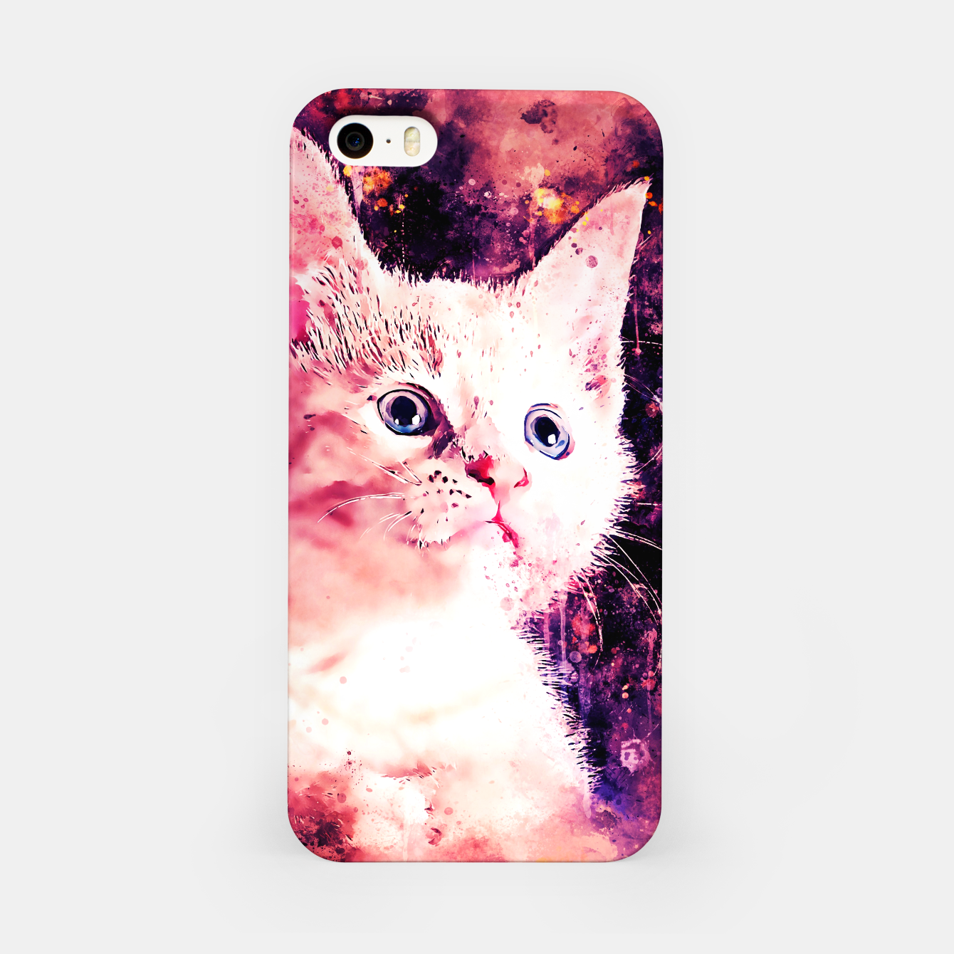 Image of gxp cute white stare gaze kitty splatter watercolor iPhone Case - Live Heroes