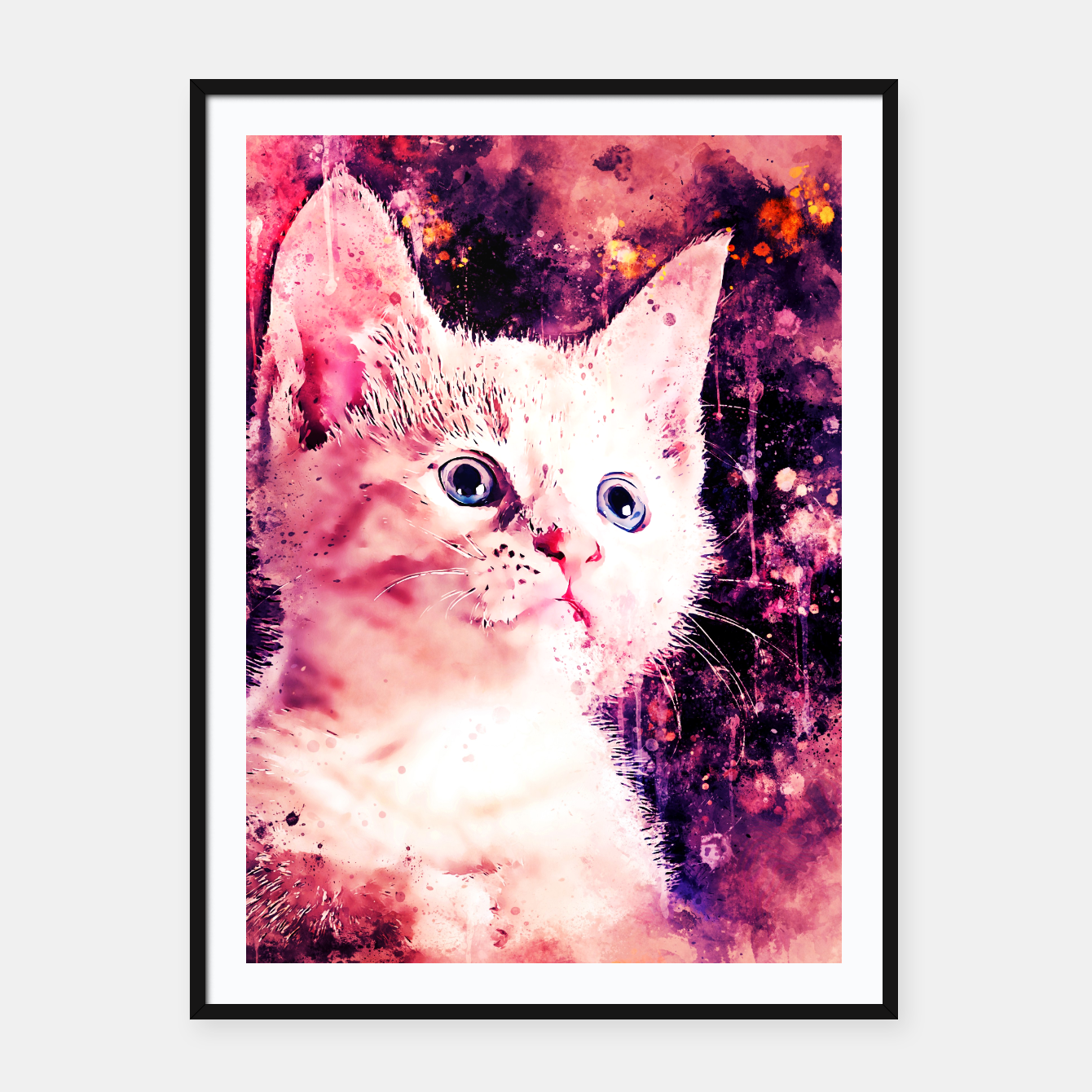 Image of gxp cute white stare gaze kitty splatter watercolor Framed poster - Live Heroes