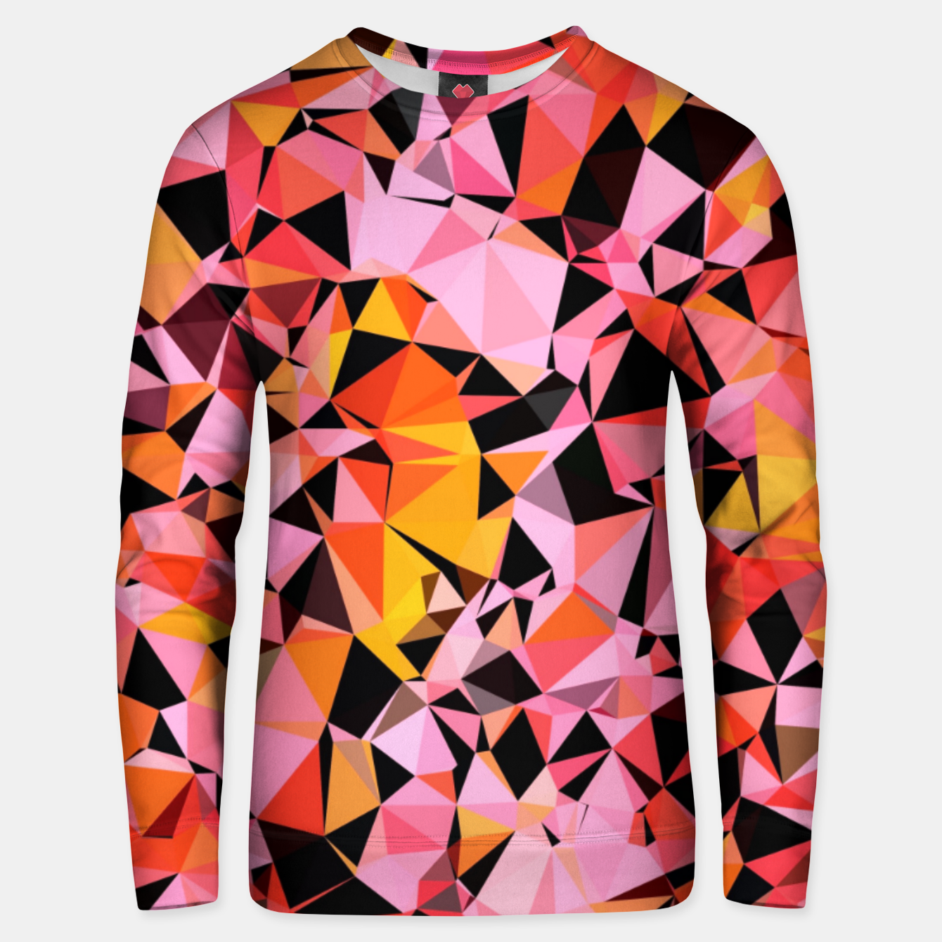 Foto geometric triangle pattern abstract in pink yellow black Unisex sweater - Live Heroes