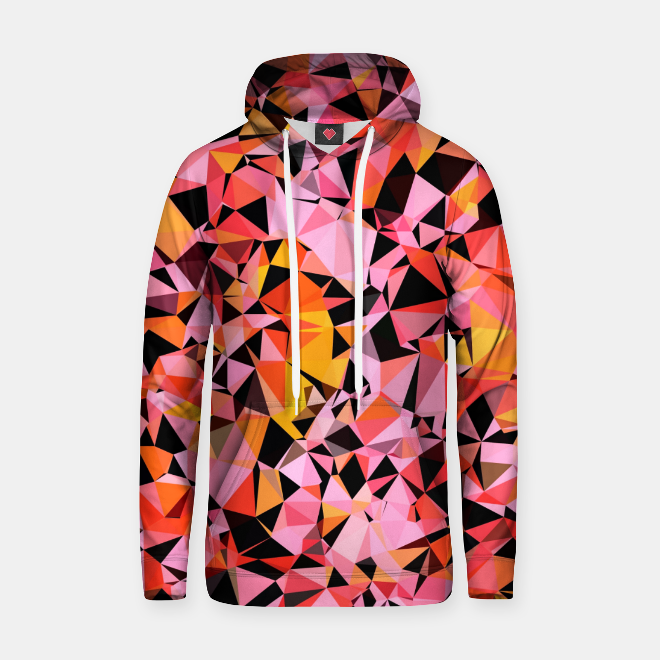 Foto geometric triangle pattern abstract in pink yellow black Hoodie - Live Heroes