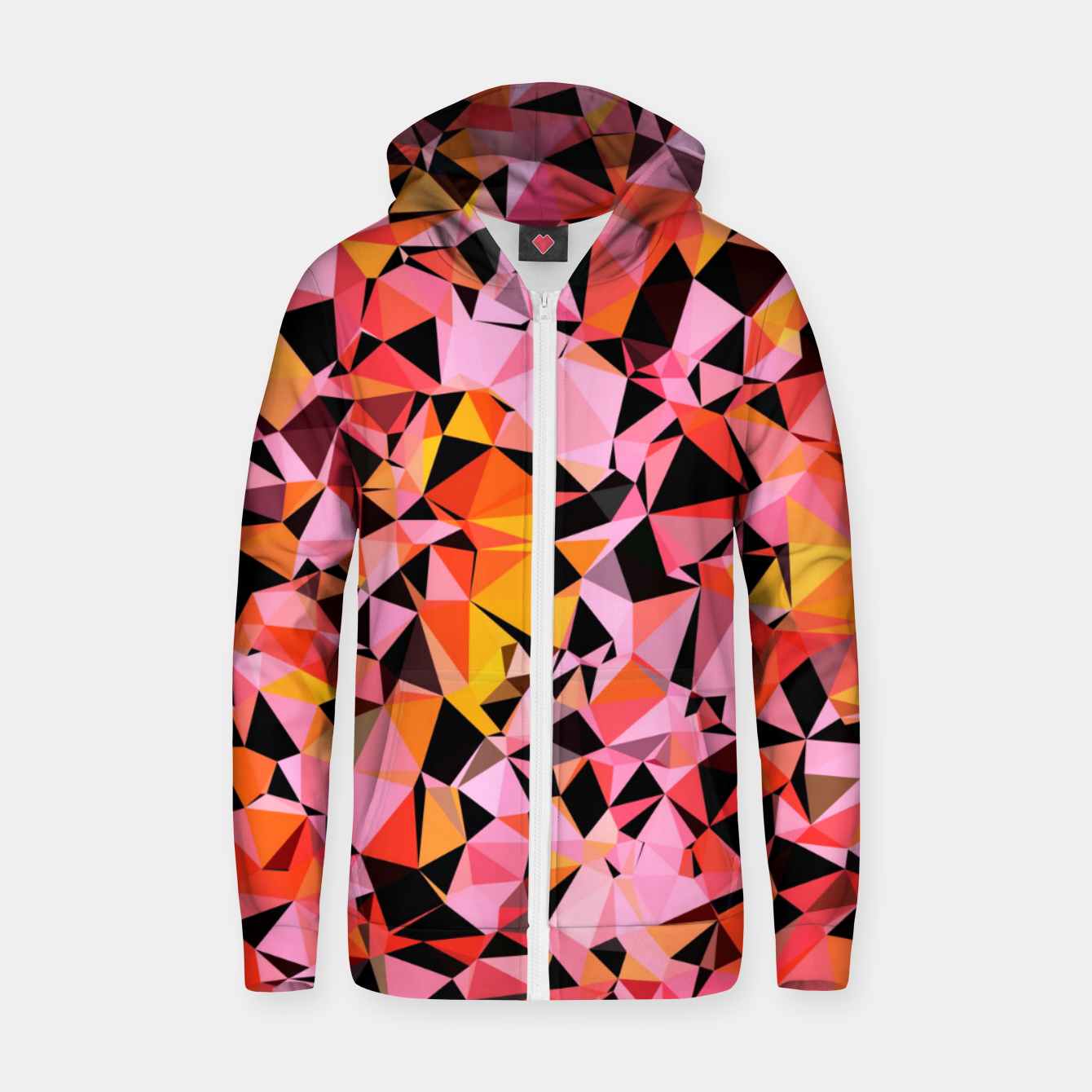 Image de geometric triangle pattern abstract in pink yellow black Zip up hoodie - Live Heroes