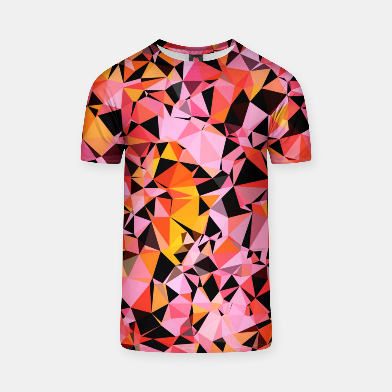 Foto geometric triangle pattern abstract in pink yellow black T-shirt - Live Heroes