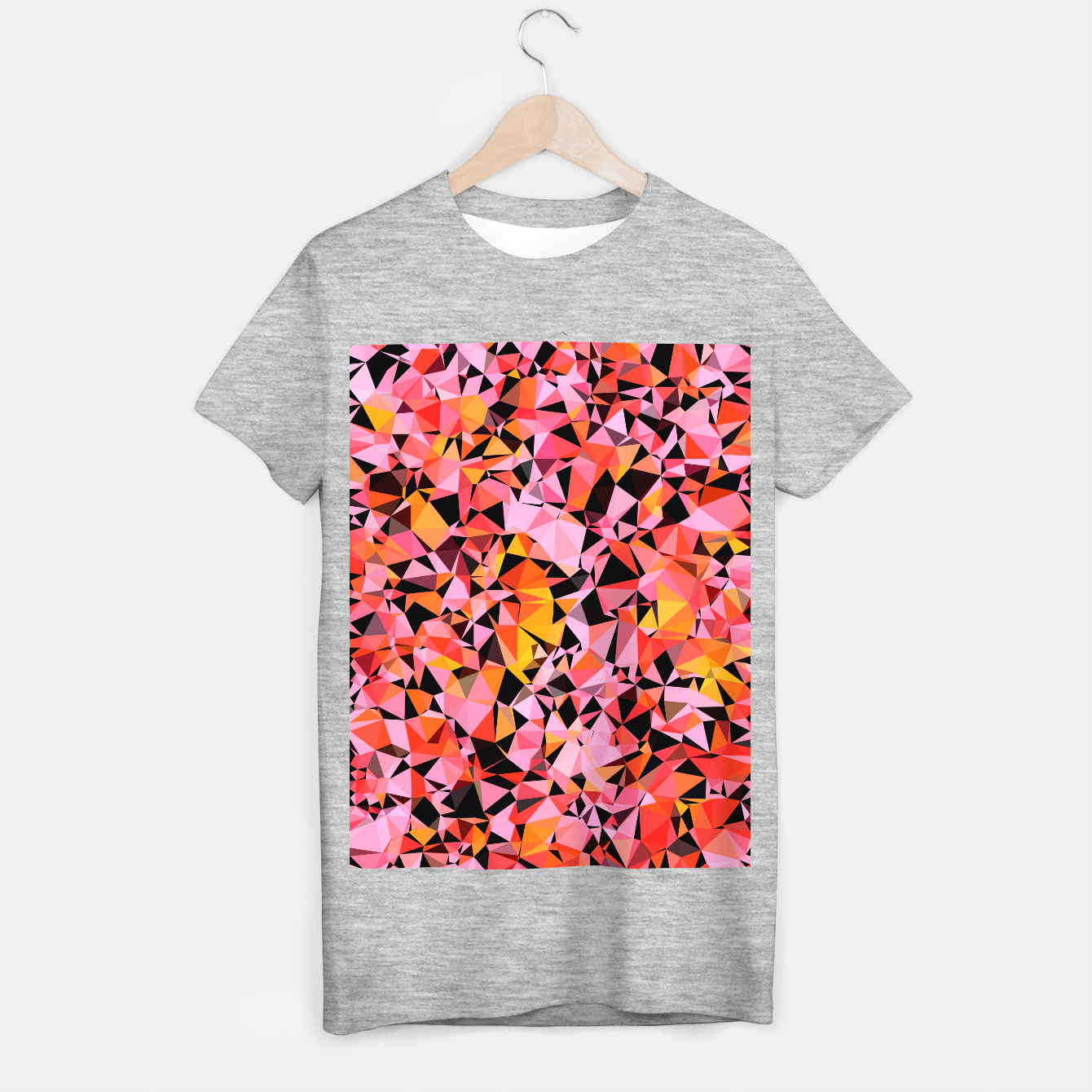 Foto geometric triangle pattern abstract in pink yellow black T-shirt regular - Live Heroes