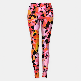 Miniatur geometric triangle pattern abstract in pink yellow black Leggings, Live Heroes