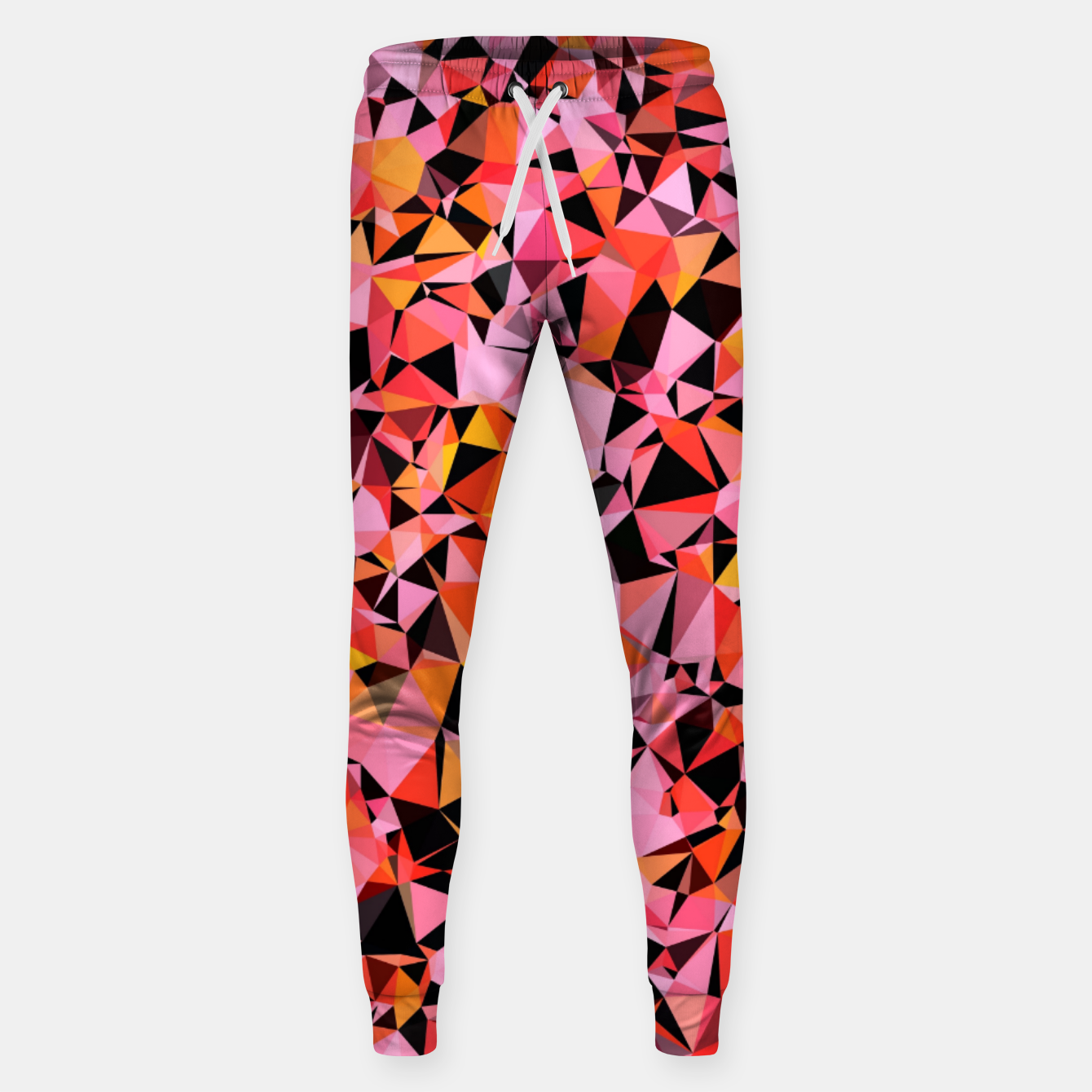 Foto geometric triangle pattern abstract in pink yellow black Sweatpants - Live Heroes