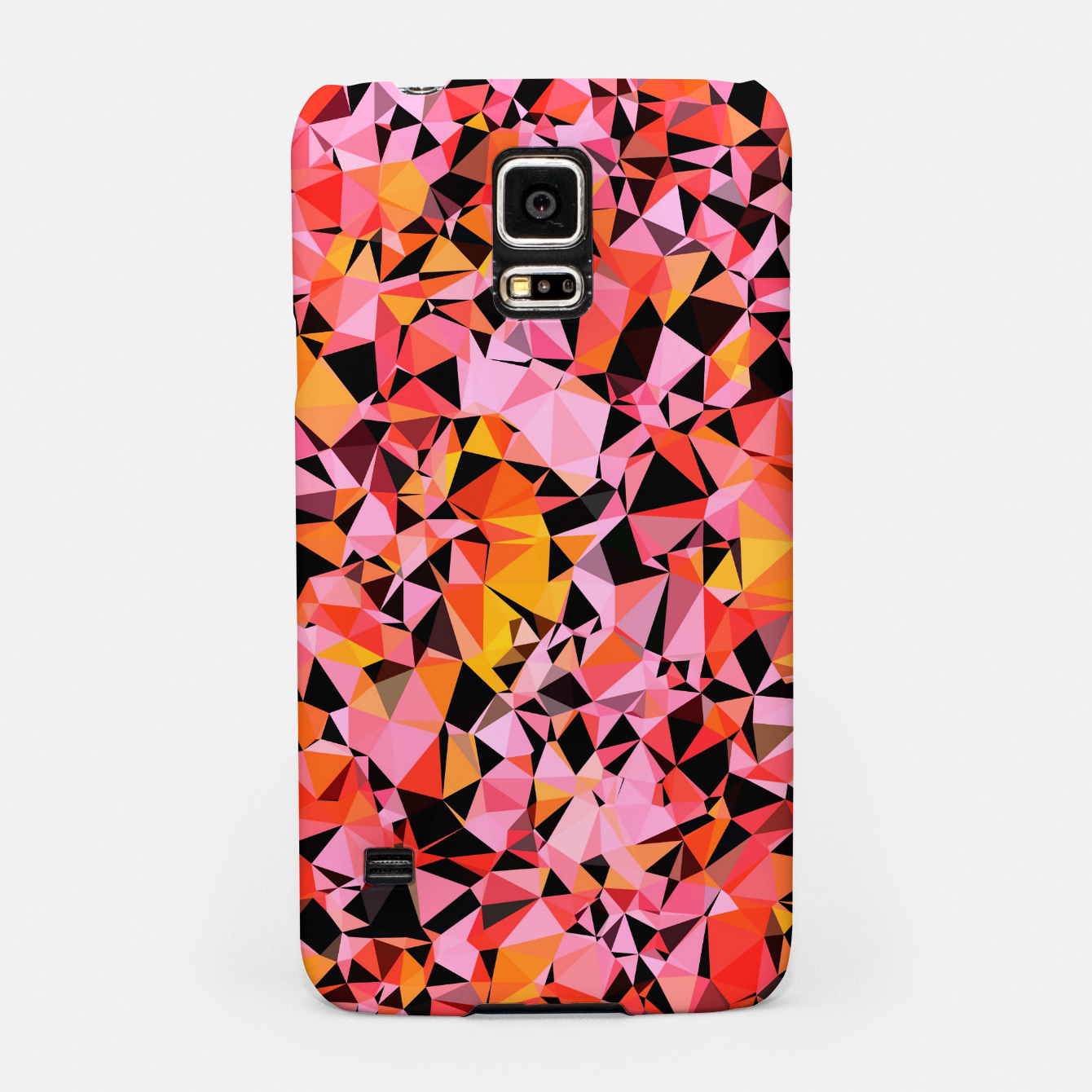 Foto geometric triangle pattern abstract in pink yellow black Samsung Case - Live Heroes