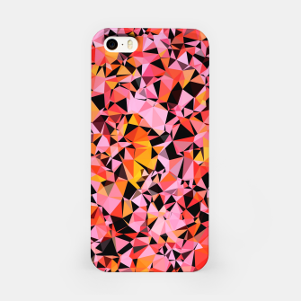 geometric triangle pattern abstract in pink yellow black iPhone Case Bild der Miniatur