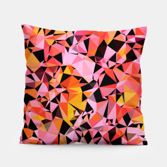 geometric triangle pattern abstract in pink yellow black Pillow Bild der Miniatur