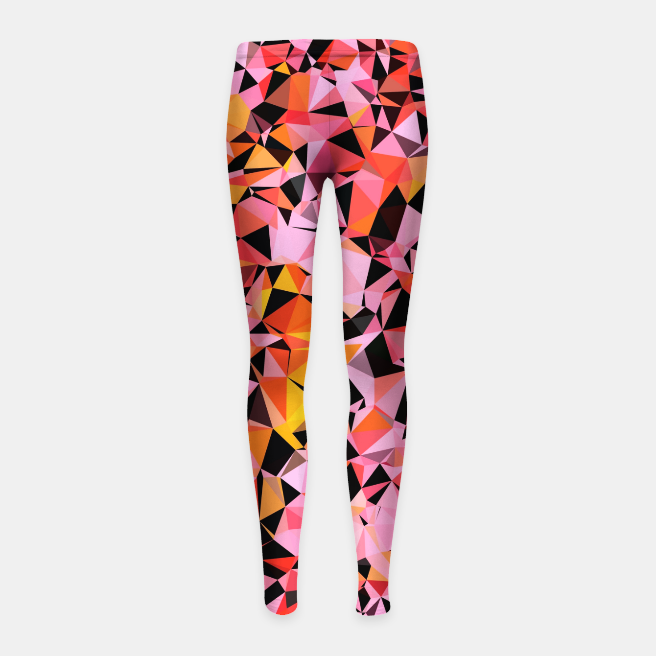 Foto geometric triangle pattern abstract in pink yellow black Girl's leggings - Live Heroes