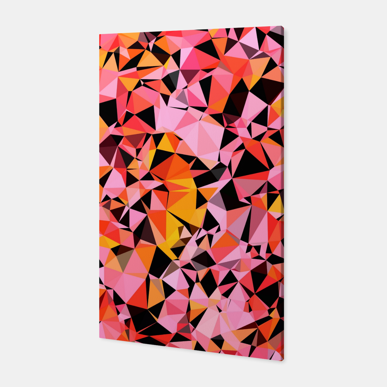 Foto geometric triangle pattern abstract in pink yellow black Canvas - Live Heroes