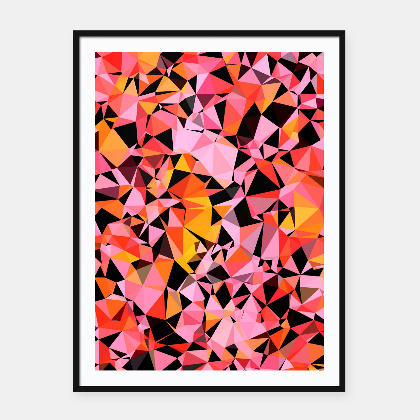 Foto geometric triangle pattern abstract in pink yellow black Framed poster - Live Heroes