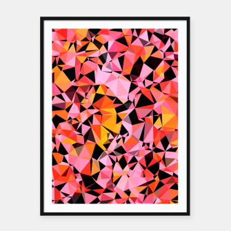 geometric triangle pattern abstract in pink yellow black Framed poster Bild der Miniatur