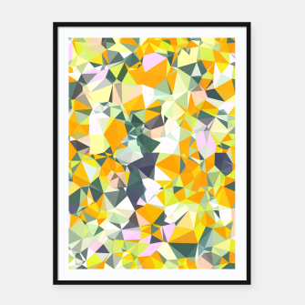 Thumbnail image of geometric triangle pattern abstract in orange green yellow Framed poster, Live Heroes