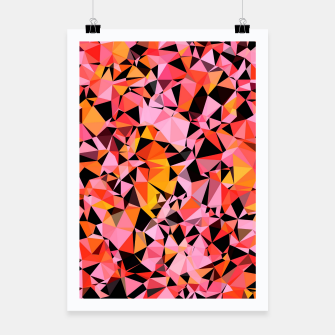 geometric triangle pattern abstract in pink yellow black Poster miniature
