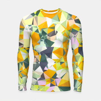Thumbnail image of geometric triangle pattern abstract in orange green yellow Longsleeve rashguard , Live Heroes