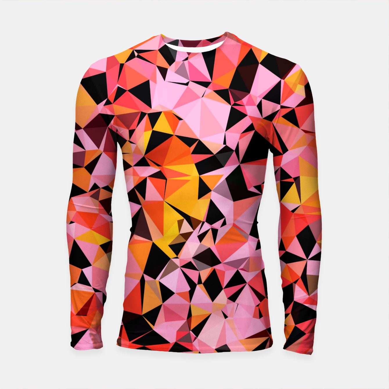 Foto geometric triangle pattern abstract in pink yellow black Longsleeve rashguard  - Live Heroes