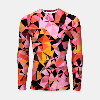 geometric triangle pattern abstract in pink yellow black Longsleeve rashguard  Bild der Miniatur