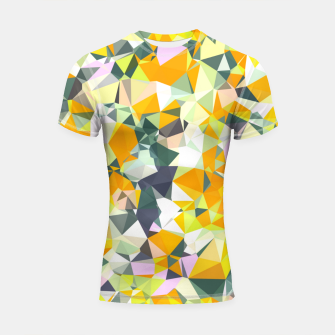 Thumbnail image of geometric triangle pattern abstract in orange green yellow Shortsleeve rashguard, Live Heroes