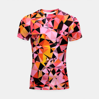 geometric triangle pattern abstract in pink yellow black Shortsleeve rashguard Bild der Miniatur