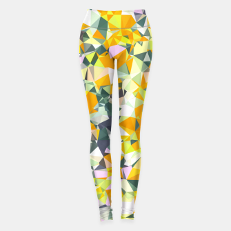 Thumbnail image of geometric triangle pattern abstract in orange green yellow Leggings, Live Heroes