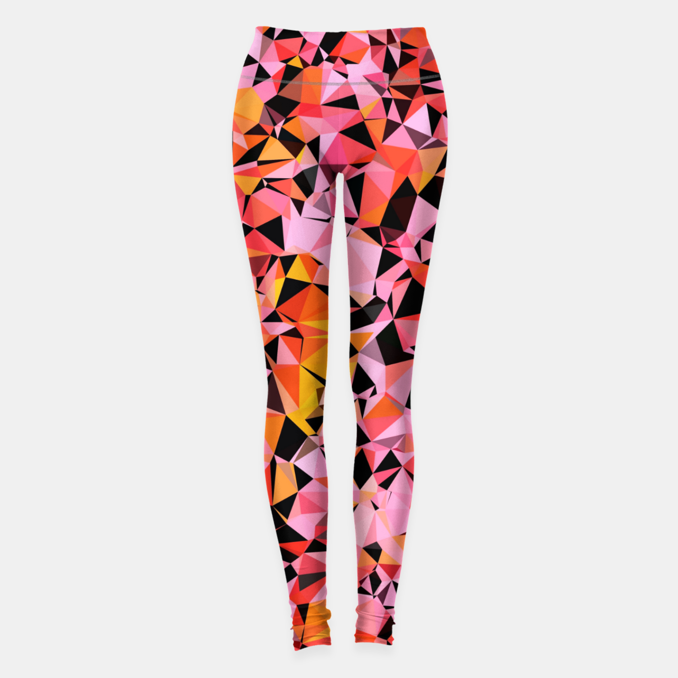 Foto geometric triangle pattern abstract in pink yellow black Leggings - Live Heroes