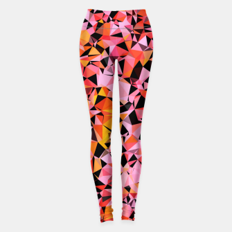geometric triangle pattern abstract in pink yellow black Leggings Bild der Miniatur